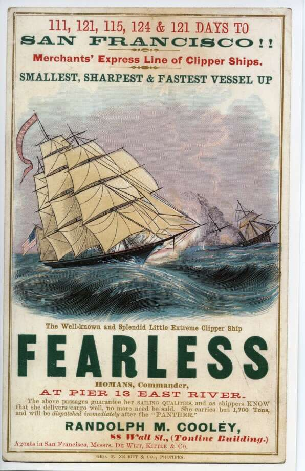 Fearless was built in East Boston in 1853 and it was said that this fast ship looked like a yacht. Photo: Courtesy The Bancroft Library