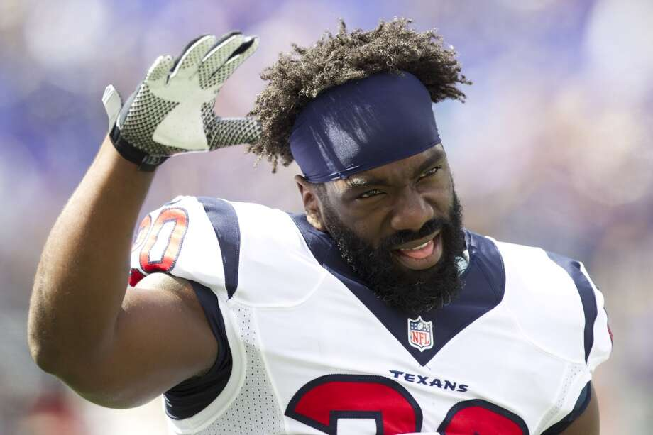 Texans safety Ed Reed greets the crowd in Baltimore. Photo: Brett Coomer, Houston Chronicle