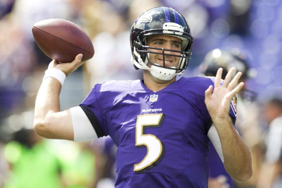 Ravens quarterback Joe Flacco warms up before facing the Texans. Photo: Brett Coomer, Houston Chronicle