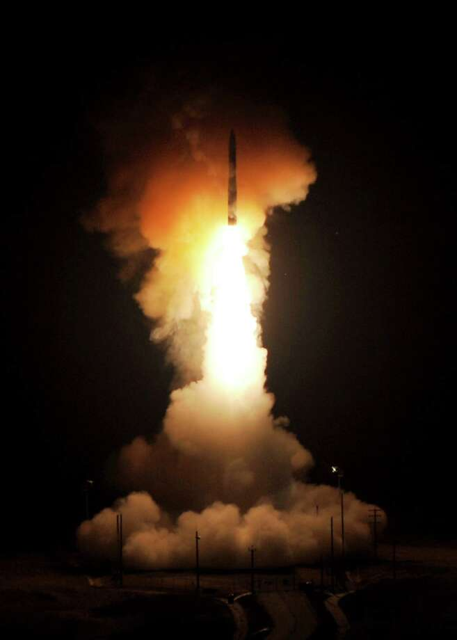 This image provided by Vandenberg Air Force Base shows the launch of the Global Strike Command Minuteman III intercontinental ballistic missile, Sunday, Sept. 22, 2013 at Vandenberg Air Force Base, Calif. Photo: AP