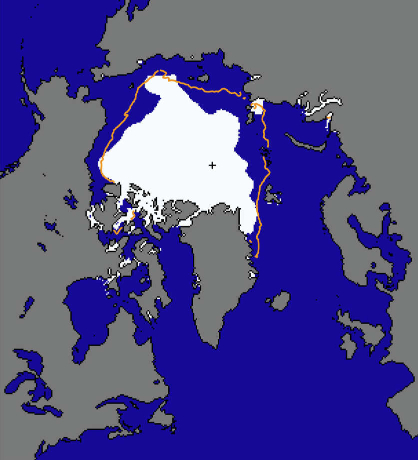 This image provided by the National Snow and Ice Data Center shows the Arctic sea ice extent on Sept. 13, 2013 in white. The orange-colored border surrounding it shows the median extent for Sept. 13 from 1981-2010. The amount of ice in the Arctic Ocean shrank this summer to the sixth lowest level, but that's much higher than last year's record low, according to The National Snow and Ice Data Center in Boulder, Colo. on Friday, Sept. 20, 2013. The ice cap at the North Pole melts in the summer and grows in winter; its general shrinking trend is a sign of global warming. Photo: AP