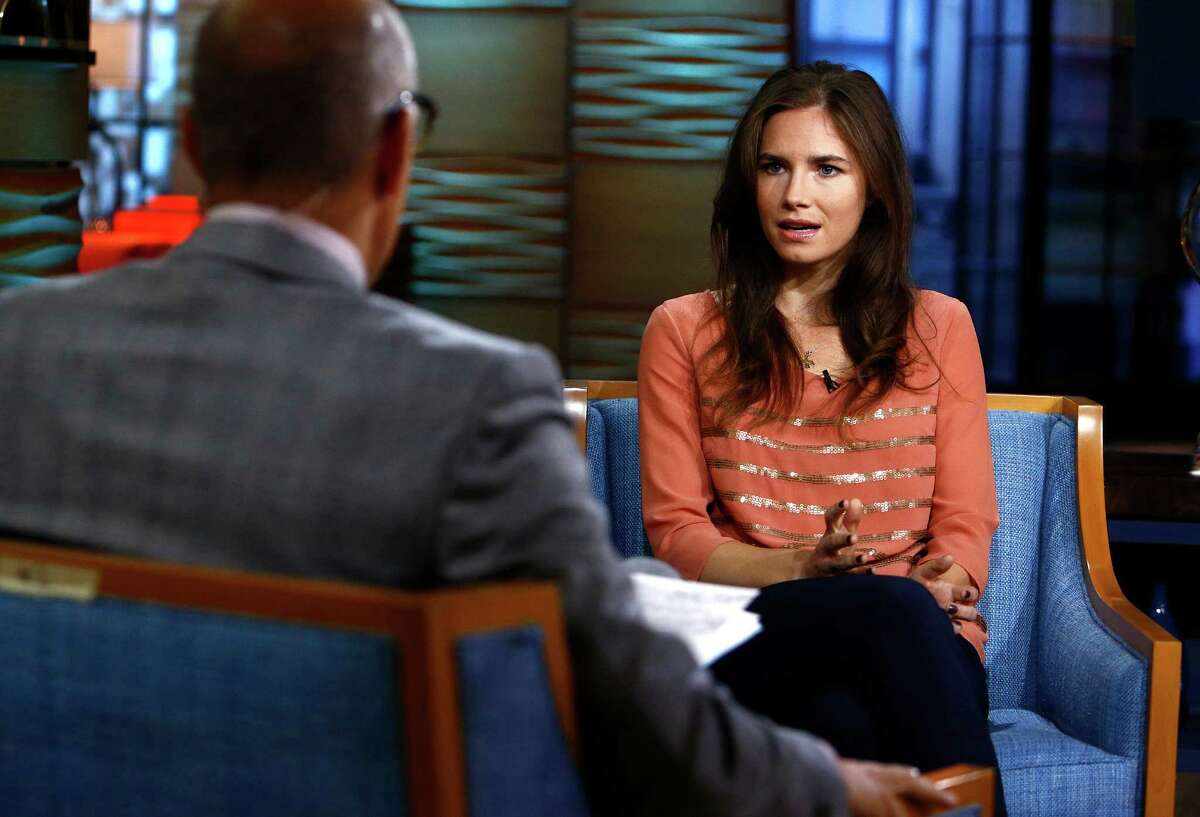 Amanda Knox, right, during an interview with Matt Lauer on the