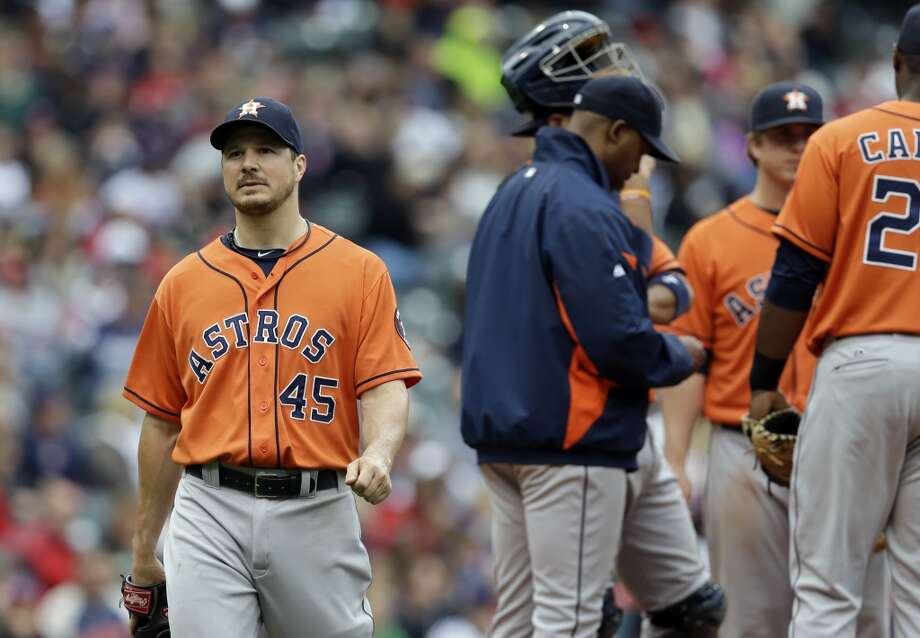 Erik Bedard leaves the game in the sixth inning. Photo: Mark Duncan, Associated Press