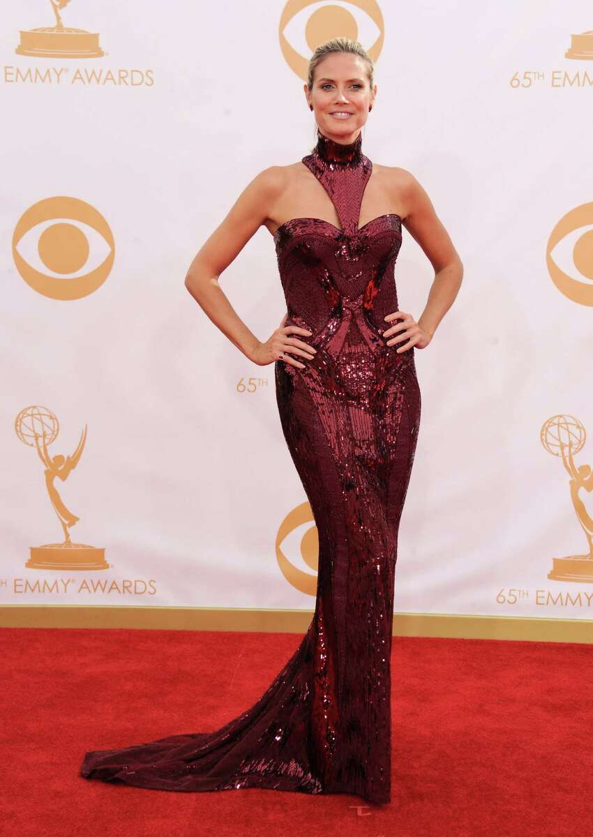 Heidi Klum arrives at the 65th Primetime Emmy Awards at Nokia Theatre on Sunday Sept. 22, 2013, in Los Angeles. (Photo by Jordan Strauss/Invision/AP)