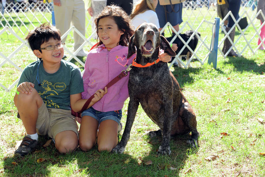 Left, Milan Baratta, 9, Lucina, 6, and Tizio, of Greenwich, during the Aged to Perfections competition at Adopt-A-Dog's 26th annual Puttin' on the Dog festival at Roger Sherman Baldwin Park, in Greenwich, Conn., Sunday, Sept. 22, 2013. Photo: Helen Neafsey / Greenwich Time
