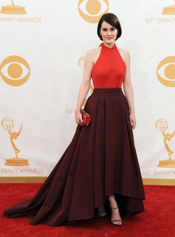 Michelle Dockery: au courant in her two-toned Prada gown. Photo: Associated Press