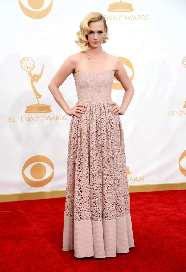 Actress January Jones arrives at the 65th Annual Primetime Emmy Awards held at Nokia Theatre L.A. Live on September 22, 2013 in Los Angeles, California.  (Photo by Frazer Harrison/Getty Images) Photo: Frazer Harrison, Getty Images