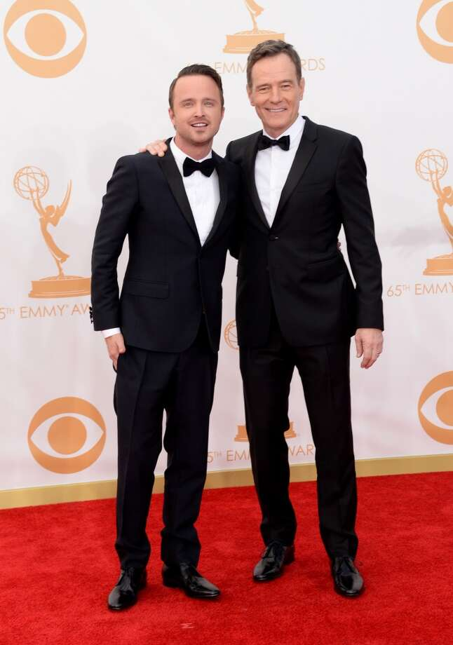 Actors Aaron Paul (L) and Bryan Cranston arrive at the 65th Annual Primetime Emmy Awards held at Nokia Theatre L.A. Live on September 22, 2013 in Los Angeles, California.  (Photo by Jason Merritt/Getty Images) Photo: Jason Merritt, Getty Images