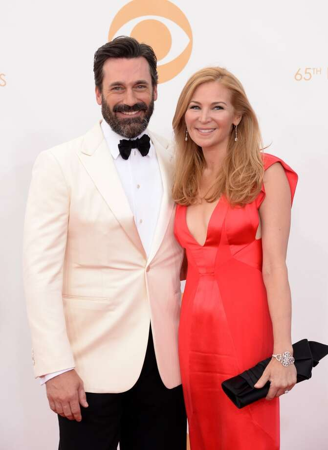 Actors Jon Hamm and Jennifer Westfeldt arrive at the 65th Annual Primetime Emmy Awards held at Nokia Theatre L.A. Live on September 22, 2013 in Los Angeles, California.  (Photo by Jason Merritt/Getty Images) Photo: Jason Merritt, Getty Images
