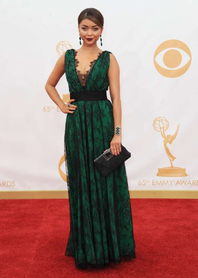 Sarah Hyland arrives at the 65th Primetime Emmy Awards at Nokia Theatre on Sunday, Sept. 22, 2013, in Los Angeles.  (Photo by Jordan Strauss/Invision/AP) Photo: Jordan Strauss, Associated Press