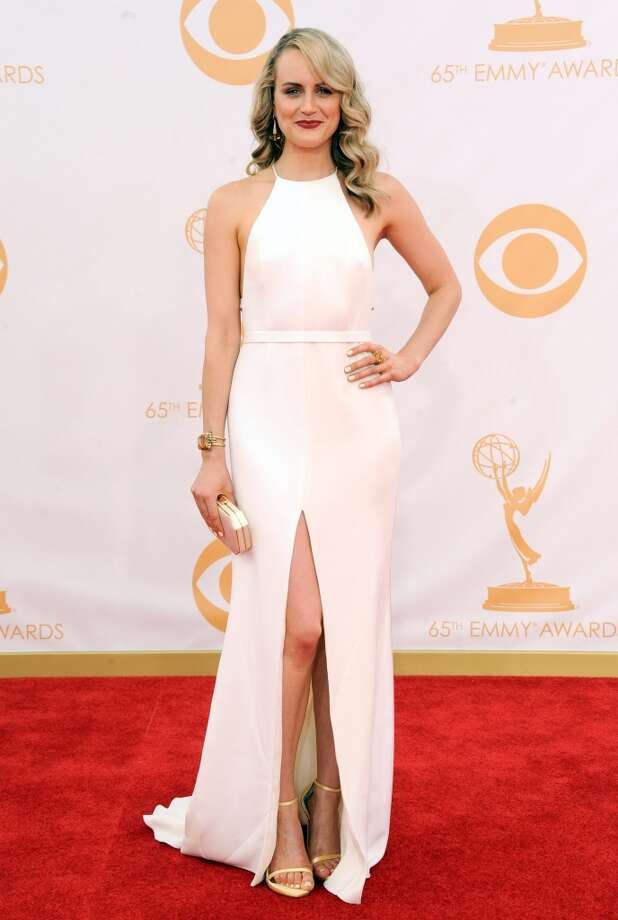 Taylor Schilling arrives at the 65th Primetime Emmy Awards at Nokia Theatre on Sunday Sept. 22, 2013, in Los Angeles.  (Photo by Jordan Strauss/Invision/AP) Photo: Jordan Strauss, Associated Press