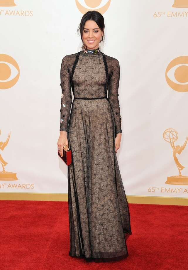 Aubrey Plaza:Dared to wear the black-lace granny gown. Photo: Jordan Strauss, Associated Press