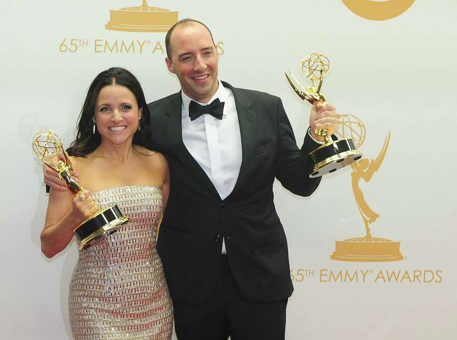 Julia Louis-Dreyfus: simple accessories and a sparkling Moinque Lhuillier  Tony Hale: Vanilla is sometimes an OK flavor. Also,