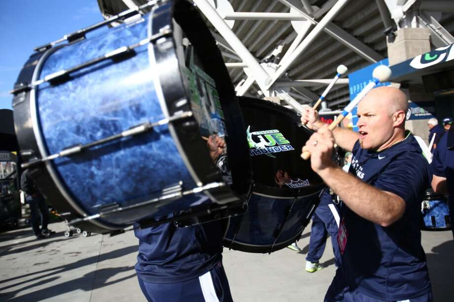 Members of Blue Thunder perform as the Seattle Seahawks take on the Jacksonville Jaguars on Sunday, Sept. 22, 2013 at CenturyLink Field in Seattle. Photo: SEATTLEPI.COM