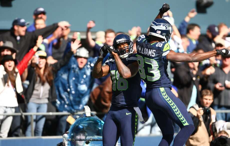 Seattle Seahawks players Sidney Rice and Stephen Williams celebrate after Rice's touchdown against the Jacksonville Jaguars on Sunday, Sept. 22, 2013 at CenturyLink Field in Seattle. Photo: SEATTLEPI.COM