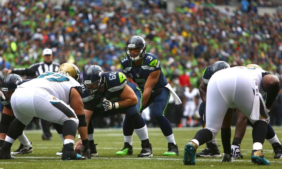 Seattle Seahawks quarterback RUssell Wilson waits for the snap against the Jacksonville Jaguars on Sunday, Sept. 22, 2013 at CenturyLink Field in Seattle. Photo: SEATTLEPI.COM