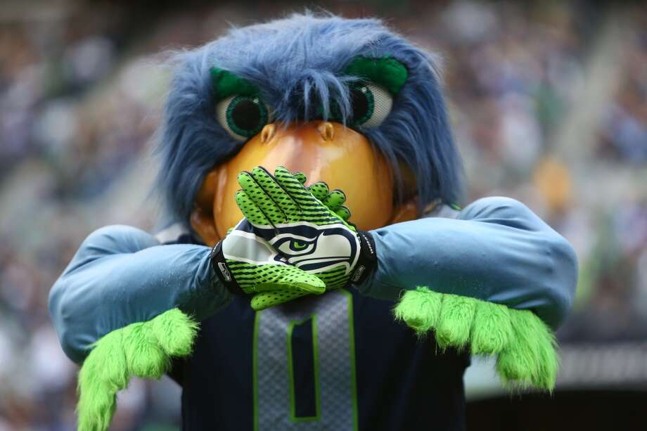 Blitz shows the Seattle Seahawks logo on his gloves during play against the Jacksonville Jaguars on Sunday, Sept. 22, 2013 at CenturyLink Field in Seattle. Photo: SEATTLEPI.COM