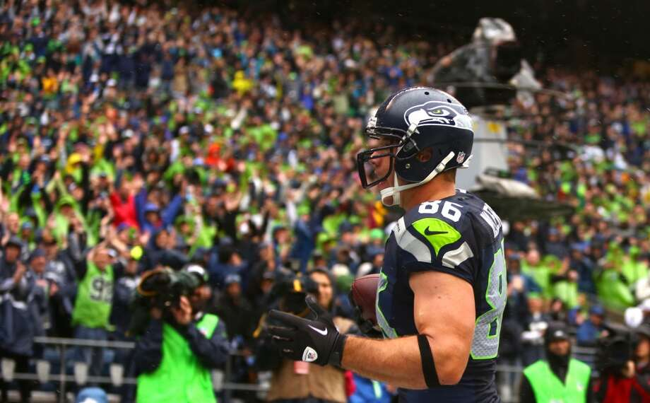 Seattle Seahawk Zach Miller pulls down a catch for his first touchdown against the Jacksonville Jaguars on Sunday, Sept. 22, 2013 at CenturyLink Field in Seattle. Photo: SEATTLEPI.COM
