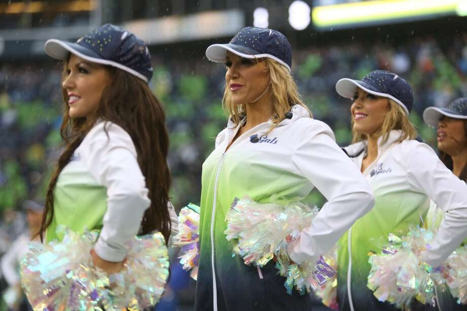 Sea Gals cheerleaders perform during a game against the Jacksonville Jaguars on Sept. 22, 2013.  (Joshua Trujillo, seattlepi.com) Photo: SEATTLEPI.COM