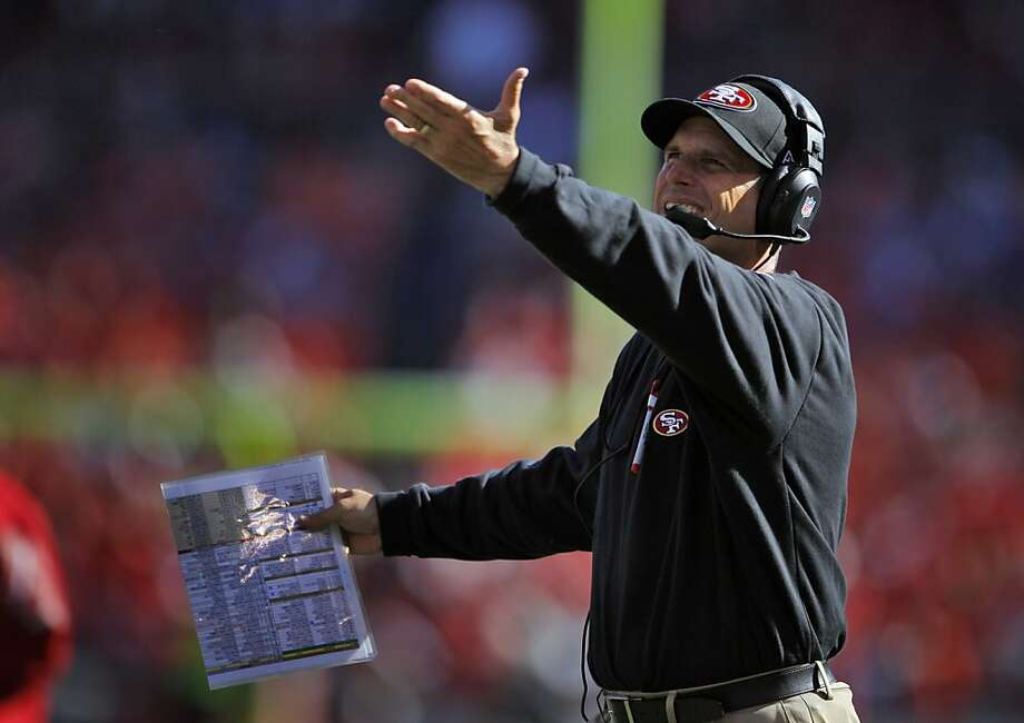 When Jim Harbaugh says it's his fault the 49ers' offense has bogged down, he may not be just deflecting blame. Photo: Carlos Avila Gonzalez, The Chronicle
