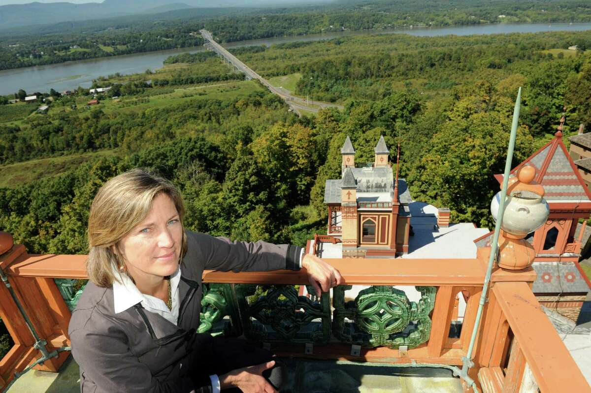 Sarah Griffen of the Olana Partnership on the crows nest of Olana, Hudson River School painter Fredrick Church's historic home, on Thursday Sept. 19, 2013 in Hudson, N.Y. (Michael P. Farrell/Times Union)