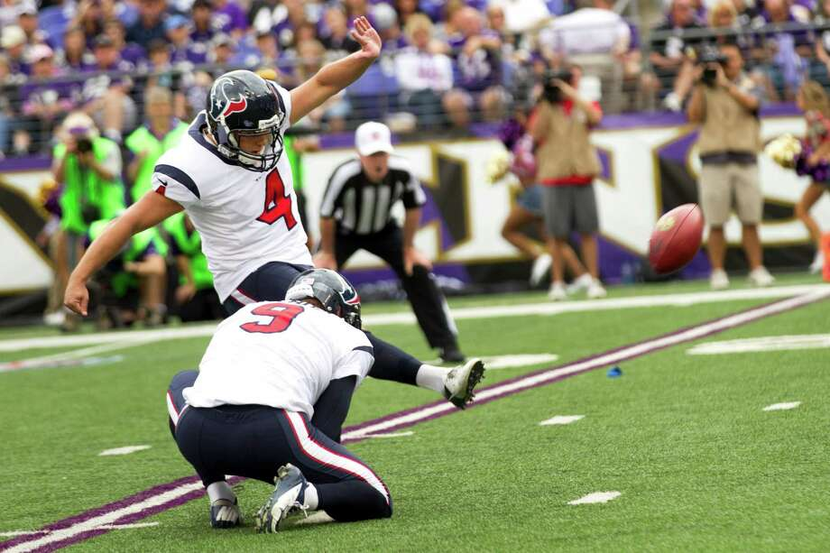 Texans kicker Randy Bullock broke his slump by hitting all three of the field goals he attempted against the Ravens. Photo: Brett Coomer, Staff / © 2013  Houston Chronicle