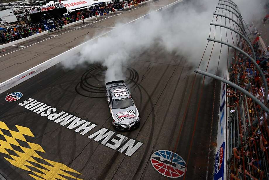 LOUDON, NH - SEPTEMBER 22:  (HANDOUT PHOTO, NO ARCHIVE, NO SALES, ONE TIME EDITORIAL USE ONLY.)  Matt Kenseth, driver of the #20 Home Depot / Husky Toyota, celebrates with a burnout after winning the NASCAR Sprint Cup Series Sylvania 300 at New Hampshire Motor Speedway on September 22, 2013 in Loudon, New Hampshire.  (Photo by Chris Trotman/NASCAR via Getty Images) Photo: Chris Trotman, NASCAR Via Getty Images