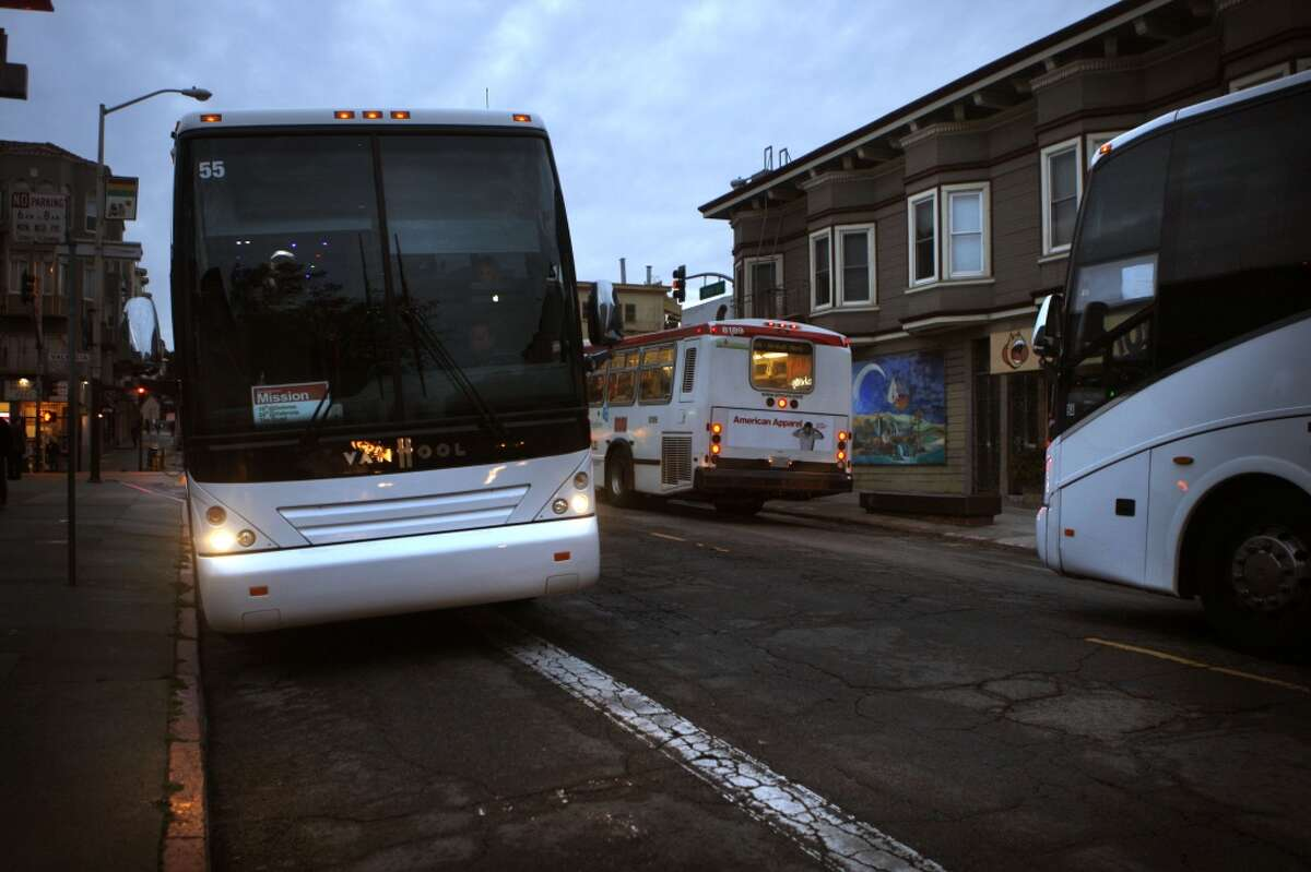 A shuttle bus for tech workers living in San Francisco and commuting to Silicon Valley.