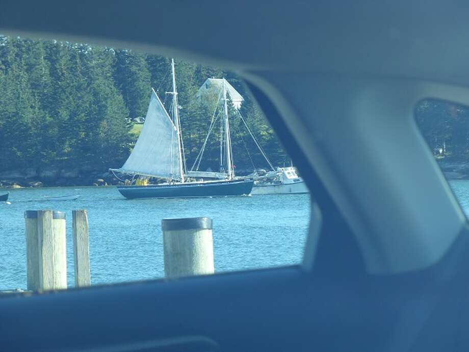 An old schooner, passing by the end of Naskeag Point, Brooklin, Maine, as seen through the Fusion.
