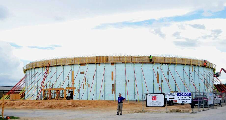 The new FEMA Dome will have a capacity for 1,133 and double as a Fine Arts Center for Lumberton ISD, with room for a 1,500-seat auditorium, or convention center. The dome is being built between Lumberton High School and Lumberton Intermediate School. Photo Sept. 19, 2013. Photo: Cassie Smith