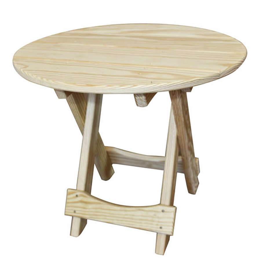 """Folding Table Folding table, 21""""diameterx18""""height is great for camping. Both square andcircle shapes are available. $60. Available at Adirondack Wood Shed."""
