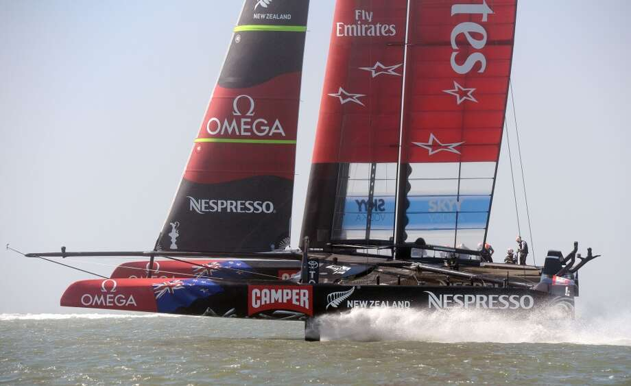 Emirates Team New Zealand competes against Oracle Team USA during the 34th America's Cup on September 22, 2013  in San Francisco. Photo: Don Emmert, AFP/Getty Images