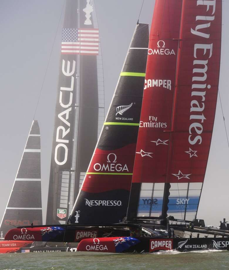 Emirates Team New Zealand (right) and Oracle Team USA during the 34th America's Cup September 22, 2013  in San Francisco. Oracle won both of the day's races. Photo: Don Emmert, AFP/Getty Images