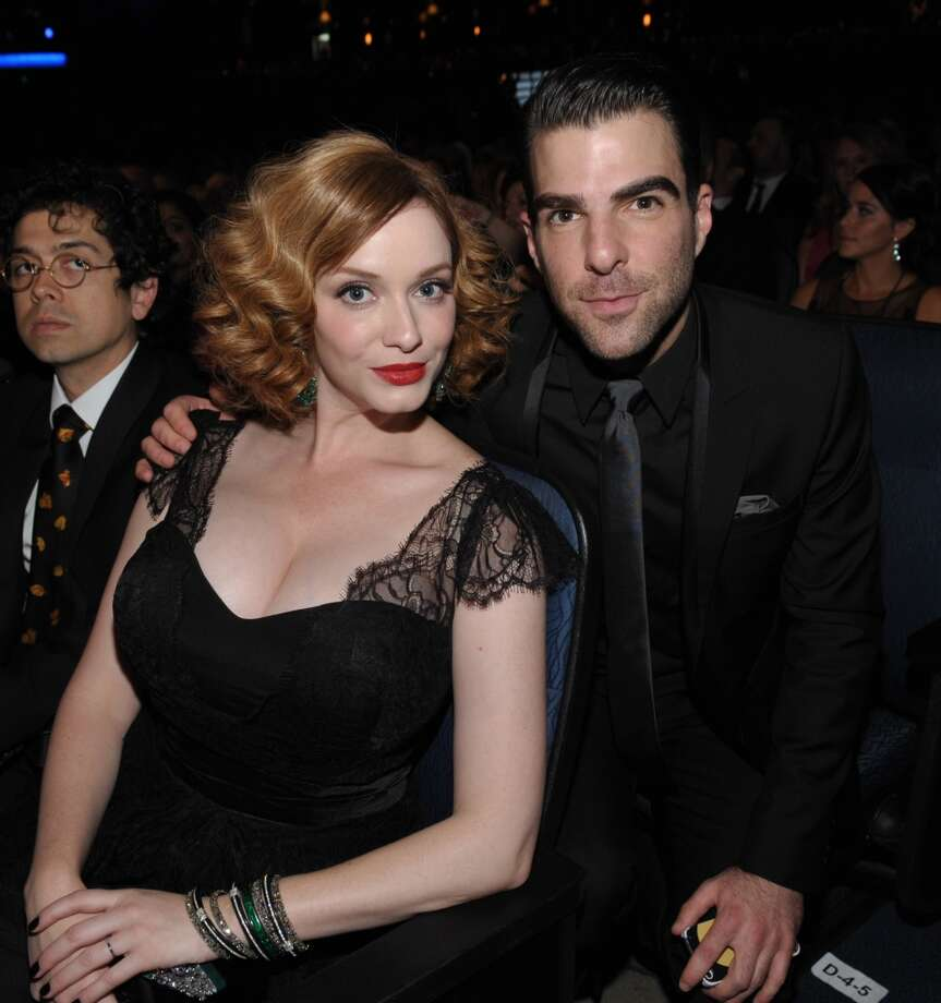 Christina Hendricks and Zachary Quinto in the audience at the 65th Primetime Emmy Awards at Nokia Theatre on Sunday Sept. 22, 2013, in Los Angeles.  (Photo by John Shearer/Invision for Academy of Television Arts & Sciences/AP Images) Photo: John Shearer/Invision/AP