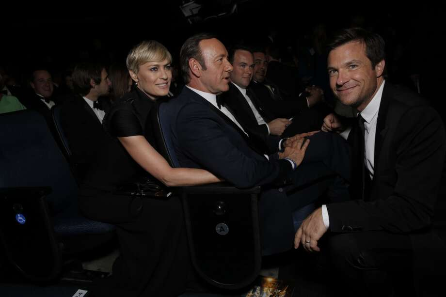 From left, Robin Wright, Kevin Spacey, and Jason Bateman are seen at the 65th Primetime Emmy Awards at Nokia Theatre on Sunday Sept. 22, 2013, in Los Angeles.  (Photo by Todd Williamson/Invision for Academy of Television Arts & Sciences/AP Images) Photo: Todd Williamson/Invision/AP