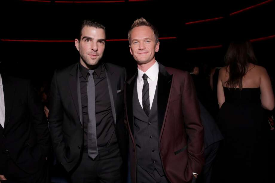 Zachary Quinto, left, and Neil Patrick Harris are seen at the 65th Primetime Emmy Awards at Nokia Theatre on Sunday Sept. 22, 2013, in Los Angeles.  (Photo by Todd Williamson/Invision for Academy of Television Arts & Sciences/AP Images) Photo: Todd Williamson/Invision/AP
