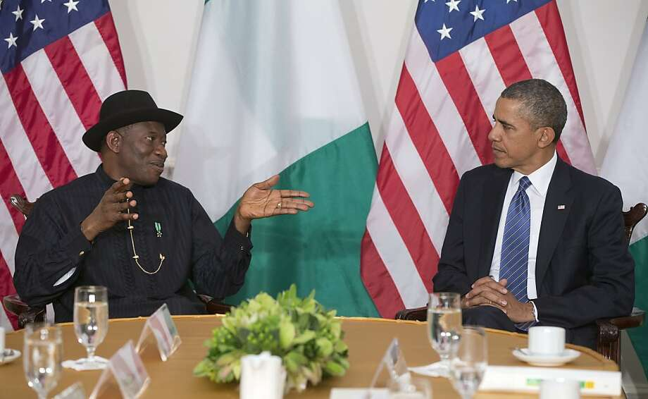 Best name: President Barack Obama, right, and Nigerian President Goodluck Jonathan, left, during their bilateral meeting in New York, Monday, Sept. 23, 2013. Obama traveled to New York and i schedule to address the United Nations General Assembly tomorrow. Photo: Pablo Martinez Monsivais, Associated Press