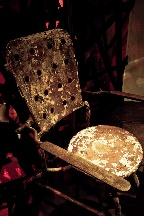 """An interrogation chair from """"Hostel."""" According to EMP, the chair was also used for actual Cold War-era interrogations in Czechoslovakia. Collection of Eli Roth. Photo: Photo Courtesy Of EMP"""