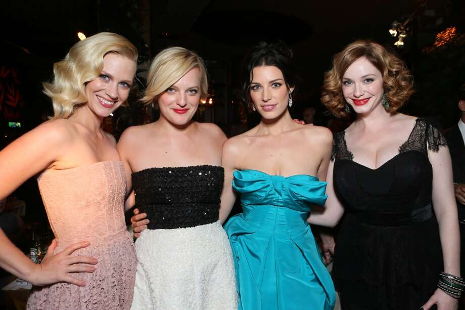 From left, January Jones, Elisabeth Moss, Jessica Pare, and Christina Hendricks attend the AMC, IFC, Sundance Channel Emmy After Party, on Sunday, September 22, 2013 in West Hollywood, Calif. (Photo by Alexandra Wyman/Invision for AMC/AP Images) Photo: Alexandra Wyman, Associated Press