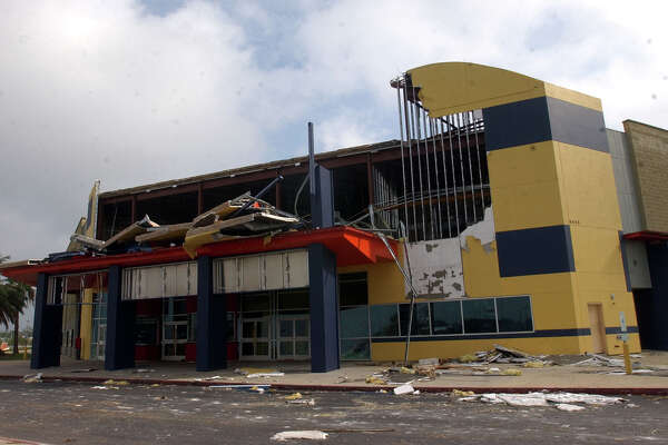 The front of the Hollywood Theater at Parkdale Mall in Beaumont, Texas on Monday, Sept 26, 2005, after its front was destroyed Saturday by Hurricane Rita. (AP Photo/The Beaumont Enterprise,Scott Eslinger)