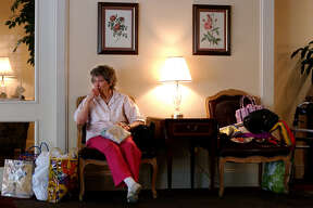 Ruby Roche, 79, waited on her daughter during an evacuation at The Ridgewood Retirement Community in Beaumont on Wednesday, September 21, 2005. She plans to meet with her other daughter in Dayton to determine where the family will eventually go during the storm.