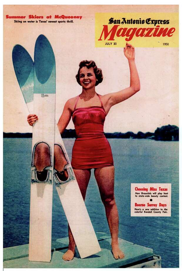 Then: In 1950, 20-year-old Betty Conley appeared on the cover of the San Antonio Express Magazine for a story claiming (to quote the cover line) that  Skiing on water is Texas  newest sports thrill.  Conley and two of her cousins, Bob Spalten and  Buzz  Mueller, were ground-breakers in the sport, performing in acrobatic ski shows and entering competitions as the  Ski Bees.  The Lake McQueeney Ski Bees, the water-skiing club they founded in 1952, is still going strong, putting on a water ski show every Thursday night during the summer. Photo: Conley, Reader Submission