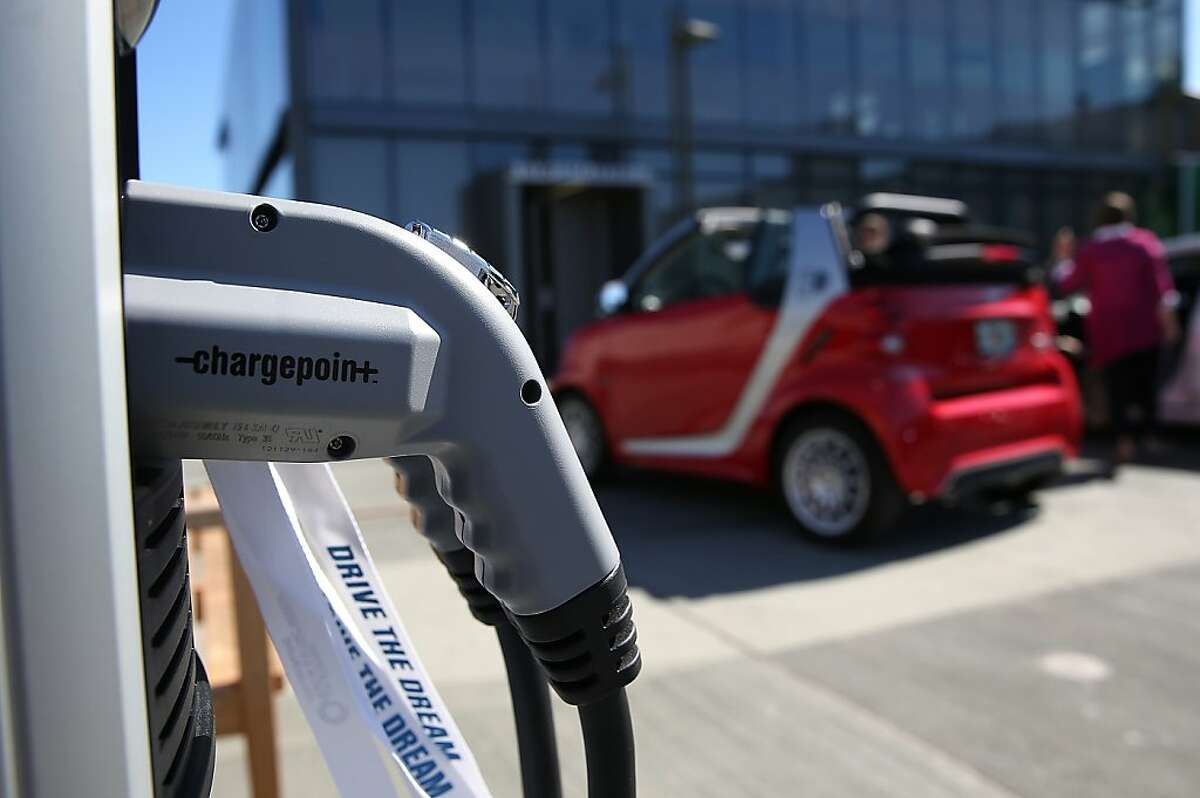 SAN FRANCISCO, CA - SEPTEMBER 16: A ChargePoint electric vehicle charger is displayed during the Drive The Dream event at the Exploratorium on September 16, 2013 in San Francisco, California. California Gov. Jerry Brown met with California corporate leaders at Drive The Dream to discuss progress in the adoption of electric vehicles and workplace charging stations at businesses in the state. (Photo by Justin Sullivan/Getty Images)