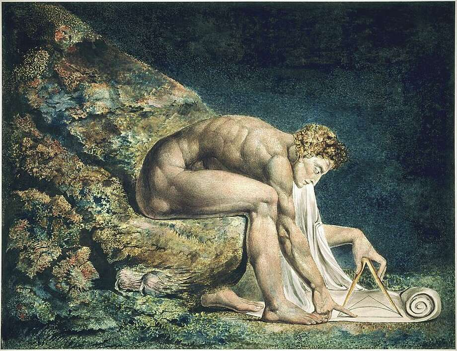 8 - You can sit in the gloom of a rain-spattered window and grow radical thoughts inside your head … giving yourself a mild electrical shock each time a gun figures into them.  Image: William Blake's Newton (1795) Photo: Wikimedia Commons