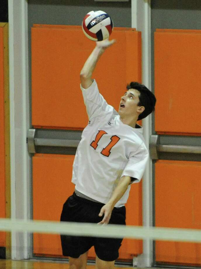 Bethlehem's Dan Ball serves the ball during a volleyball game against Shenendehowa on Monday, Sept. 23, 2013 in Delmar, N.Y.  (Lori Van Buren / Times Union) Photo: Lori Van Buren / 00023930A