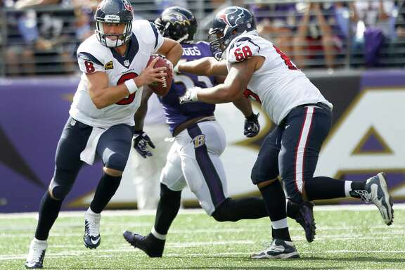 Houston Texans quarterback Matt Schaub (8) is forced out of the pocket by Baltimore Ravens outside linebacker Terrell Suggs (55) during the third quarter of an NFL football game at M&T Bank Stadium Sunday, Sept. 22, 2013, in Baltimore. ( Brett Coomer / Houston Chronicle )