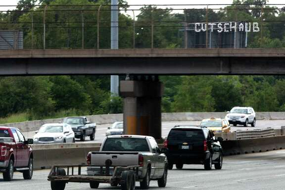 The North Street overpass above Interstate 45 holds a biting message for Texans quarterback Matt Schaub in light of Sunday's 30-9 loss at Baltimore.