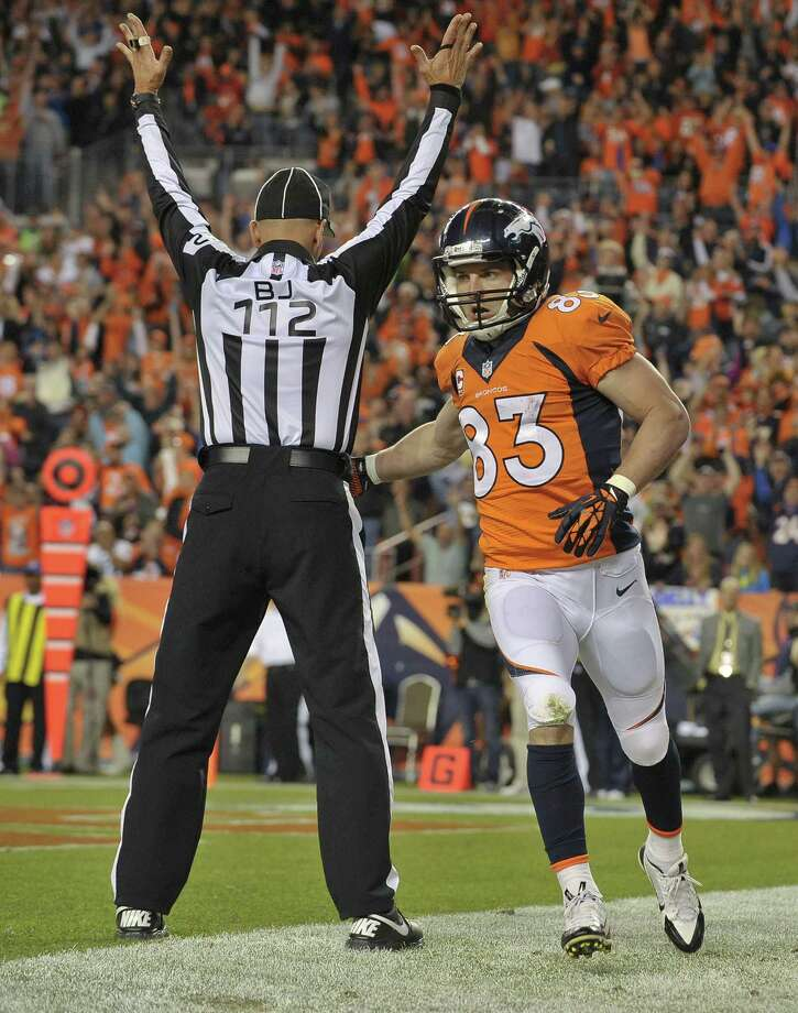 Broncos receiver Wes Welker caught one of Peyton Manning's three touchdown passes Monday night. Photo: Jack Dempsey / Associated Press