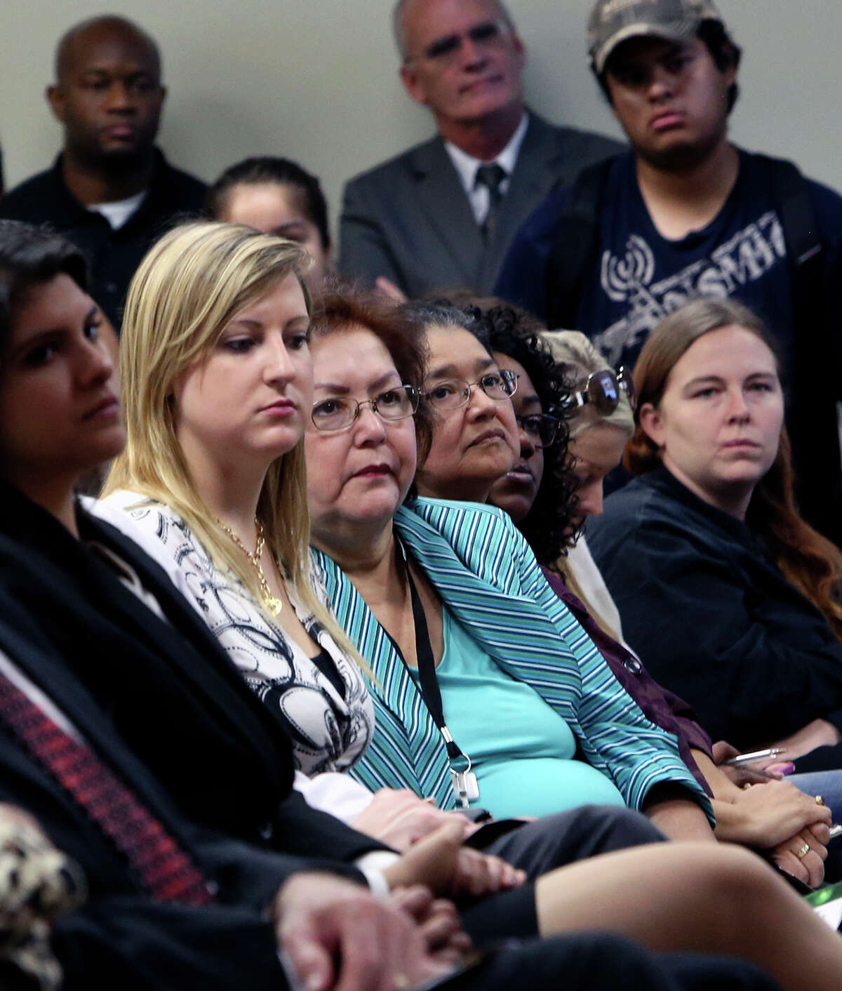 Students and other attendees listen to speakers at San Antonio College during a forum on open enrollment in the exchange for health insurance on Monday Sept. 23, 2013, . Congressman Lloyd Doggett, U.S. Secretary of Labor Thomas Perez and Mayor Julian Castro were three of the several speakers.
