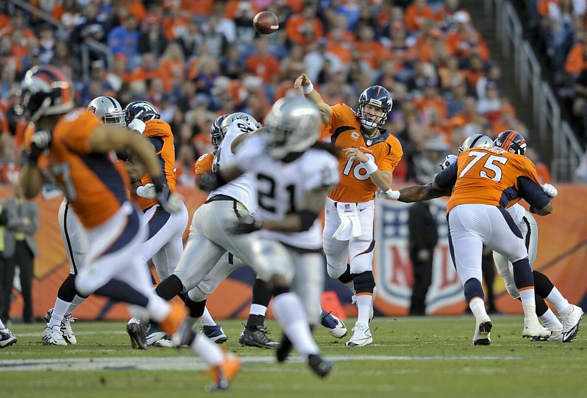 Denver Broncos quarterback Peyton Manning (18) throws a pass to wide receiver Eric Decker (87) against the Oakland Raiders in the first quarter of an NFL football game, Monday, Sept. 23, 2013, in Denver. (AP Photo/Jack Dempsey)